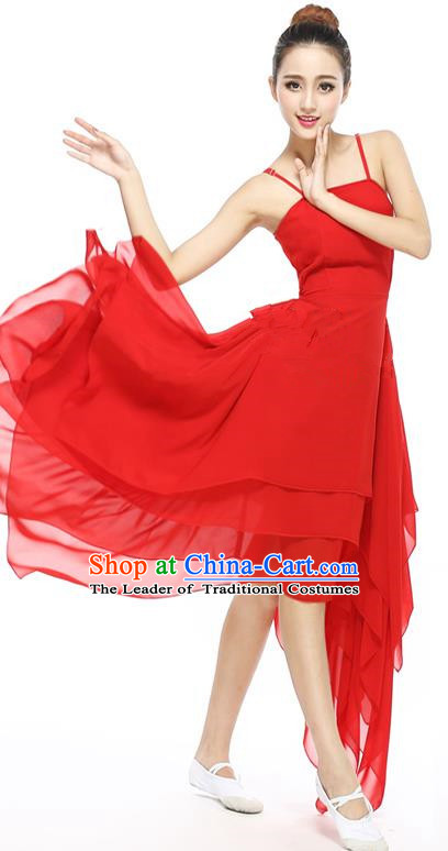 Traditional Modern Dancing Compere Costume, Female Opening Classic Chorus Singing Group Dance Red Ballet Dancewear, Modern Dance Big Swing Dress Classic Latin Dance Elegant Clothing for Women