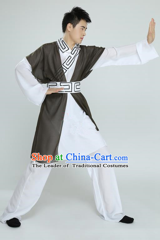 Traditional Chinese Ancient Scholar Costume, Folk Dance Kung fu Uniforms, Classic Dance Martial Art Elegant Clothing for Men