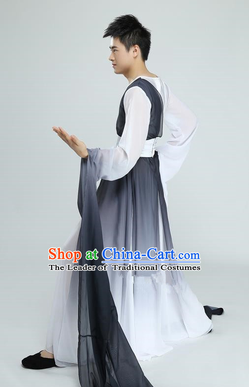 Traditional Chinese Ancient Water Sleeve Costume, Folk Dance Kung fu Performance Uniforms, Classic Dance Martial Art Elegant Clothing for Men