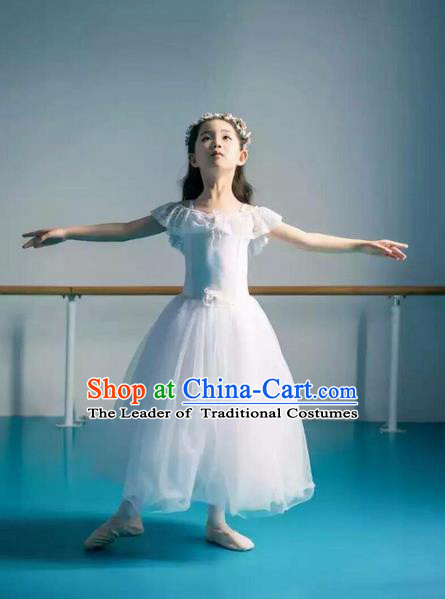 Traditional Modern Dancing Costume, Children Opening Classic Chorus Singing Group Dance Bubble Dress, Modern Dance Classic Ballet Dance White Veil Dress for Kids