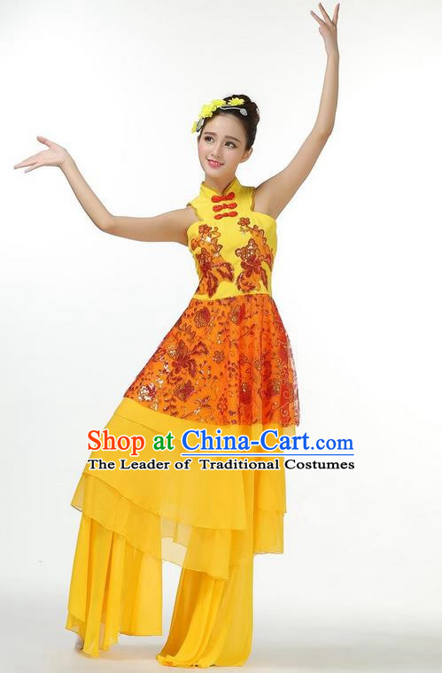 Traditional Chinese Yangge Fan Dancing Costume, Folk Dance Yangko Mandarin Sleeve Dress and Pants Butterfly Uniforms, Classic Lotus Dance Elegant Dress Drum Dance Gold Clothing for Women