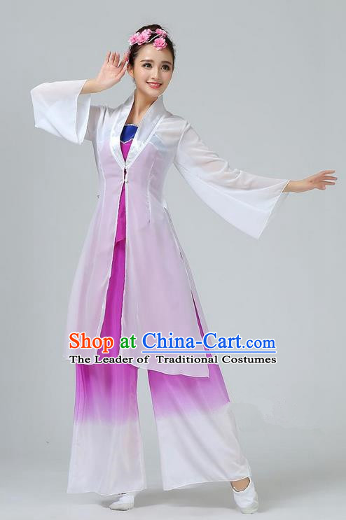 Traditional Chinese Yangge Fan Dancing Costume, Folk Dance Yangko Mandarin Sleeve Dress and Pants Uniforms, Classic Umbrella Lotus Dance Elegant Dress Drum Dance Purple Clothing for Women