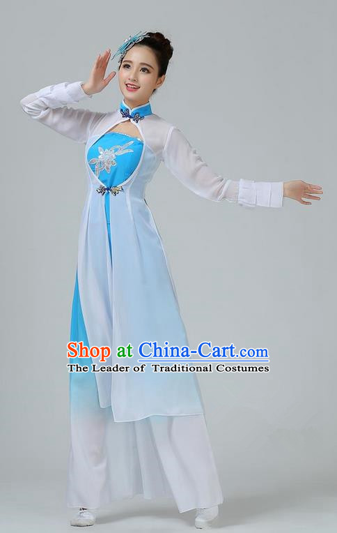 Traditional Chinese Yangge Fan Dancing Costume, Folk Dance Yangko Mandarin Sleeve Dress and Pants Paillette Uniforms, Classic Umbrella Lotus Dance Elegant Dress Drum Dance Blue Clothing for Women