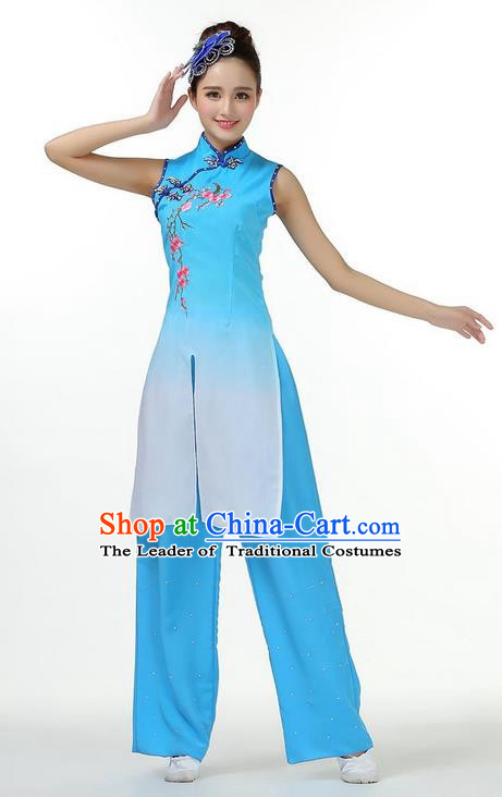 Traditional Chinese Yangge Fan Dancing Costume, Folk Dance Yangko Mandarin Collar Dress and Pants Plum Blossom Uniforms, Classic Umbrella Lotus Dance Elegant Dress Drum Dance Blue Clothing for Women