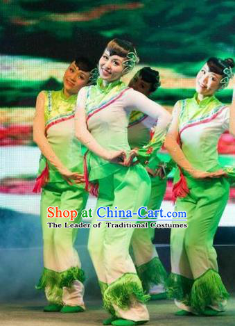 Traditional Chinese Yangge Fan Dancing Costume, Folk Dance Yangko Mandarin Collar Blouse and Pants Uniforms, Classic Umbrella Lotus Dance Elegant Dress Drum Dance Green Clothing for Women