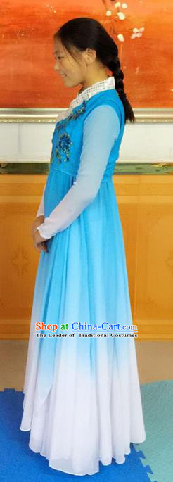 Traditional Chinese Yangge Fan Dancing Costume, Folk Dance Yangko Uniforms, Classic Umbrella Lotus Dance Elegant Dress Drum Dance Blue Clothing for Women