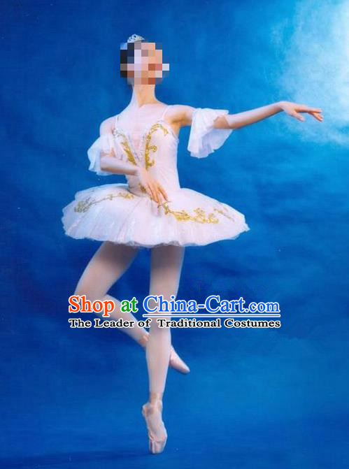 Traditional Modern Dancing Costume, Women Opening Classic Dance Chorus Singing Group Tutu Dance Performance Dress, Modern Dance Classic Ballet Dance White Bubble Dress for Women