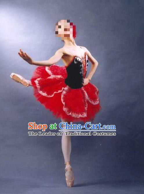 Traditional Modern Dancing Costume, Women Opening Classic Dance Chorus Singing Group Tutu Dance Performance Dress, Modern Dance Classic Ballet Dance Red Bubble Dress for Women