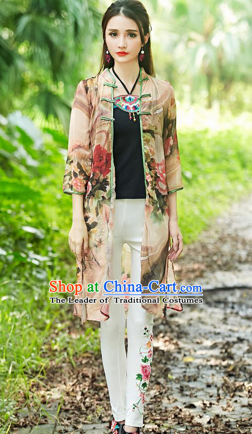 Traditional Ancient Chinese Tangsuit Costume, Elegant Hanfu Cappa Clothing, China Style Tang Suit Paiting Peony Red Cardigan Clothing for Women