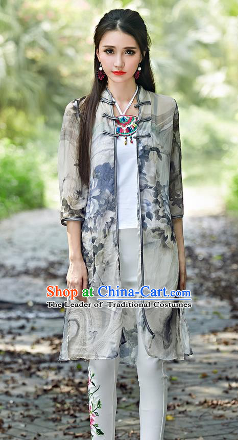 Traditional Ancient Chinese Tangsuit Costume, Elegant Hanfu Cappa Clothing, China Style Tang Suit Paiting Peony Grey Cardigan Clothing for Women