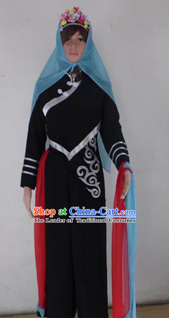 Traditional Chinese Yi Nationality Dancing Costume, Folk Dance Ethnic Dress Palace Princess Uniform, Chinese Yi Minority Nationality Dancing Black Clothing for Women