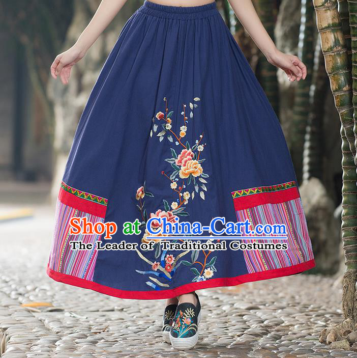 Traditional Ancient Chinese Tangsuit Skirt Costume, Elegant Hanfu Dress, China National Tang Suit Embroidered Blue Bust Skirt for Women