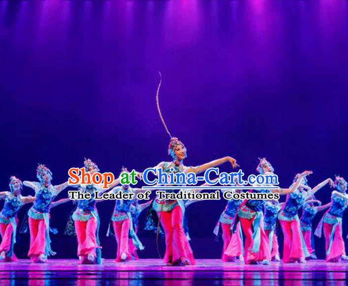 Traditional Chinese Ancient Yangge Fan Dancing Peking Opera Dance Costume, Folk Dance Performance Uniforms, Classic Tang Dynasty Flying Dance Elegant Fairy Dress Drum Palace Dance Clothing for Women