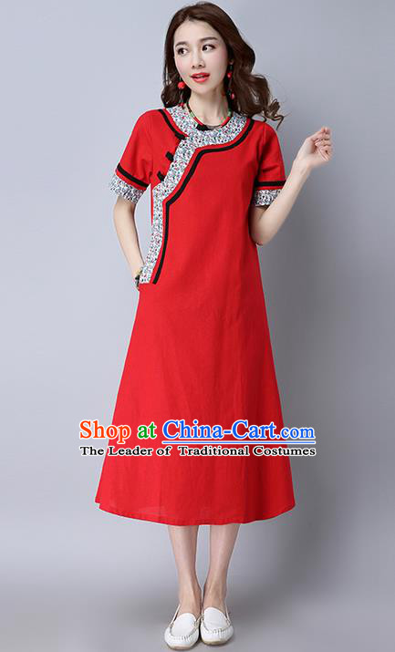 Traditional Ancient Chinese National Costume, Elegant Hanfu Printing Dress, China Tang Suit Mandarin Collar Cheongsam Upper Outer Garment Red Dress Clothing for Women