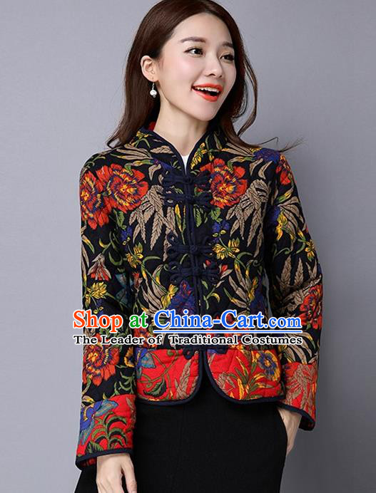 Traditional Ancient Chinese National Costume, Elegant Hanfu Coat, China Tang Suit Stand Collar Cotton-Padded Coat, Upper Outer Garment Embroidered Black Jacket Clothing for Women