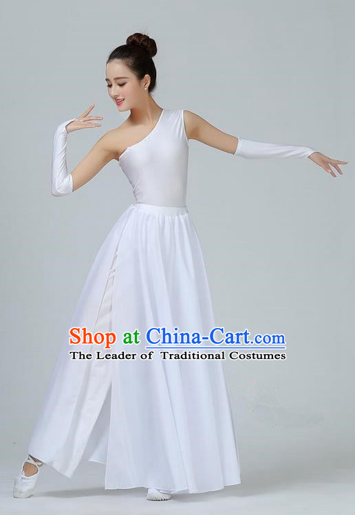 Traditional Modern Dancing Costume, Opening Classic Chorus Singing Group Dance White Single Shoulder Dress, Modern Dance Classic Ballet Dance Latin Dance Dress for Women