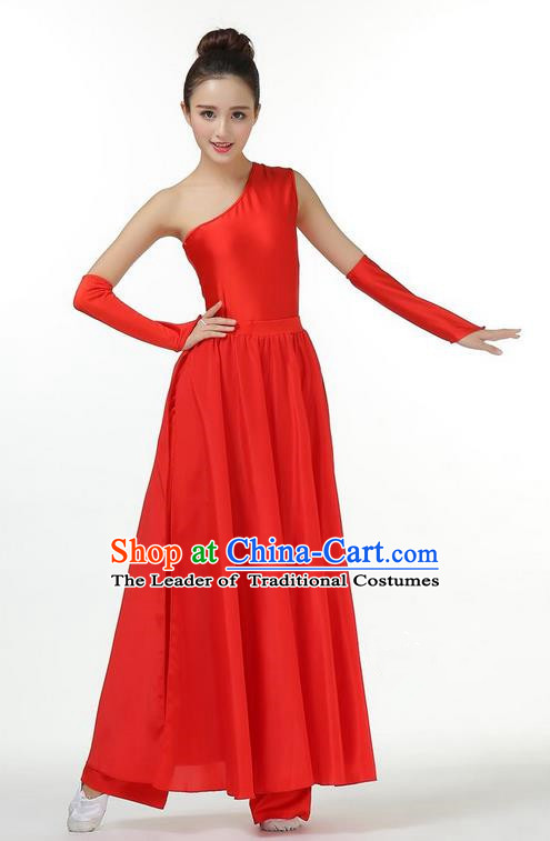 Traditional Modern Dancing Costume, Opening Classic Chorus Singing Group Dance Red Single Shoulder Dress, Modern Dance Classic Ballet Dance Latin Dance Dress for Women