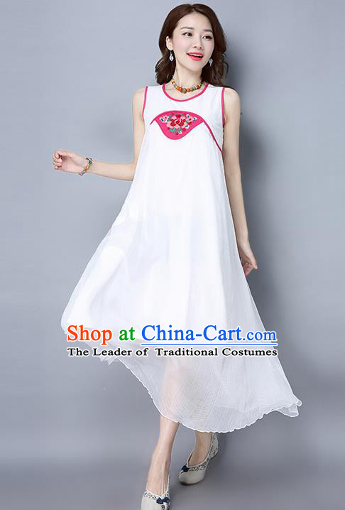 Traditional Ancient Chinese National Costume, Elegant Hanfu Embroidered Dress, China Tang Suit Cheongsam Upper Outer Garment White Dress Clothing for Women