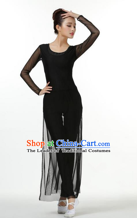 Traditional Modern Dancing Costume, Chinese Style Opening Classic Chorus Singing Group Dance Black Dress, Modern Dance Classic Ballet Dance Latin Dance Dress for Women