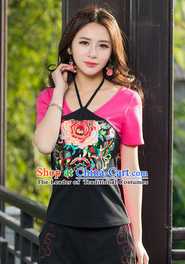 Traditional Ancient Chinese National Costume, Elegant Hanfu Halter T-Shirt, China Tang Suit Round Collar Rose Embroidered Peony Blouse Cheongsam Upper Outer Garment Clothing for Women