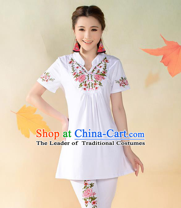 Traditional Ancient Chinese National Costume, Elegant Hanfu T-Shirt, China Tang Suit Mandarin Collar White Blouse Cheongsam Upper Outer Garment Clothing for Women