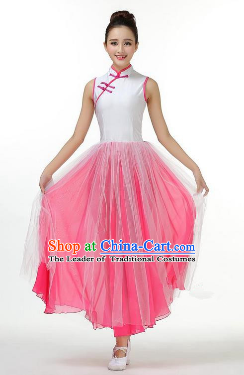 Traditional Modern Dancing Costume, Opening Classic Chorus Singing Group Dance Big Swing Pink Long Cheongsam Dress, Modern Dance Classic Ballet Dance Latin Dance Dress for Women