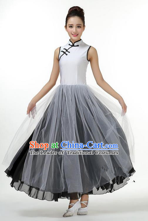 Traditional Modern Dancing Costume, Opening Classic Chorus Singing Group Dance Big Swing Black Long Cheongsam Dress, Modern Dance Classic Ballet Dance Latin Dance Dress for Women
