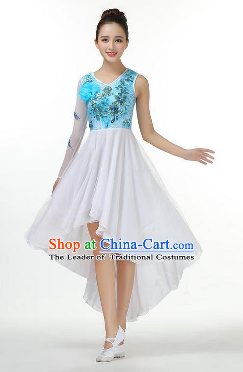 Traditional Modern Dancing Costume, Opening Classic Chorus Singing Group Dance Big Swing Blue Short Dress, Modern Dance Classic Ballet Dance Latin Dance Dress for Women