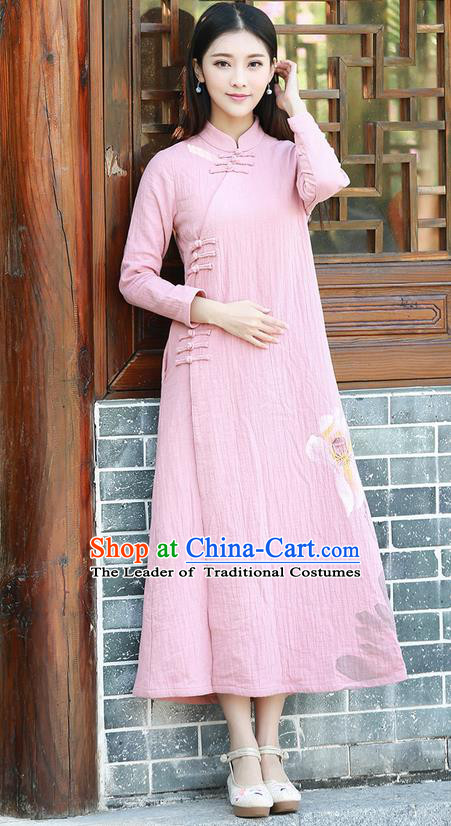 Traditional Ancient Chinese National Costume, Elegant Hanfu Hand Printing Linen Dress, China Tang Suit Cheongsam Upper Outer Garment Pink Elegant Dress Clothing for Women