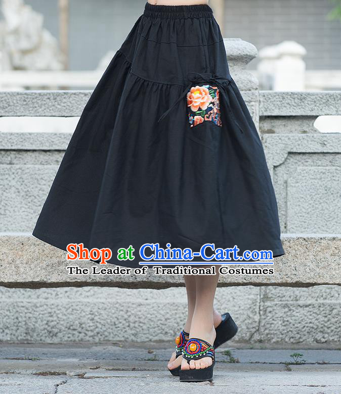 Traditional Ancient Chinese National Pleated Skirt Costume, Elegant Hanfu Embroidered Peony Long Dress, China Tang Suit Cotton Black Bust Skirt for Women