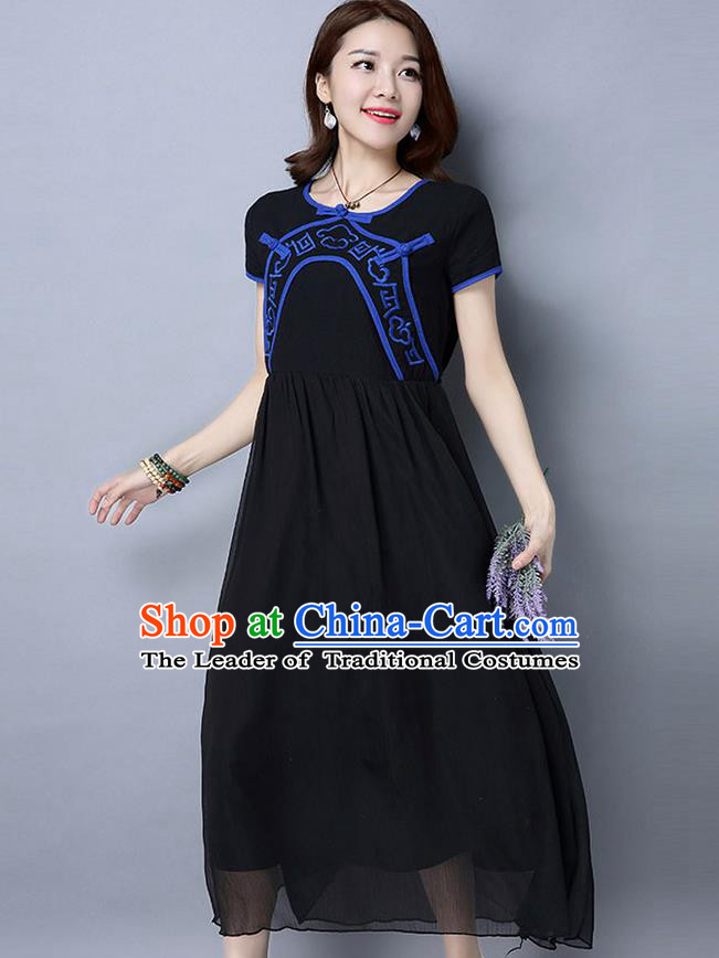 Traditional Ancient Chinese National Costume, Elegant Hanfu Embroidered Chiffon Dress, China Tang Suit Cheongsam Upper Outer Garment Black Elegant Dress Clothing for Women