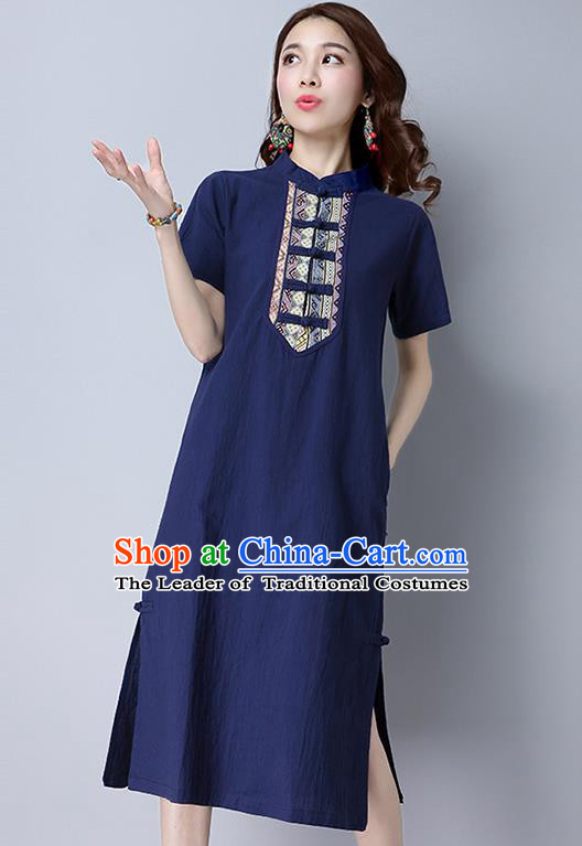 Traditional Ancient Chinese National Costume, Elegant Hanfu Stand Collar Dress, China Tang Suit Mandarin Collar Cheongsam Upper Outer Garment Blue Dress Clothing for Women
