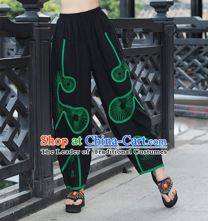 Traditional Ancient Chinese National Costume Plus Fours, Elegant Hanfu Embroidered Green Pants, China Tang Suit Cotton Bloomers for Women