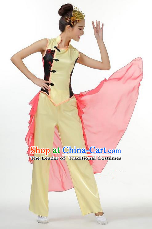 Traditional Chinese Yangge Fan Dancing Costume, Folk Dance Yangko Blouse and Pants Uniforms, Classic Umbrella Jasmine Flower Dance Elegant Dress Drum Dance Clothing for Women