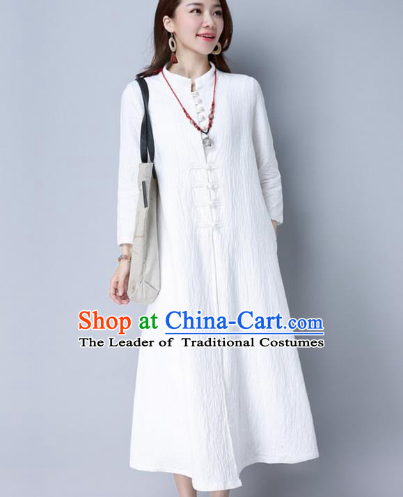 Traditional Ancient Chinese National Costume, Elegant Hanfu Two Piece Dress, China National Minority Tang Suit Cheongsam Upper Outer Garment White Dress Clothing for Women