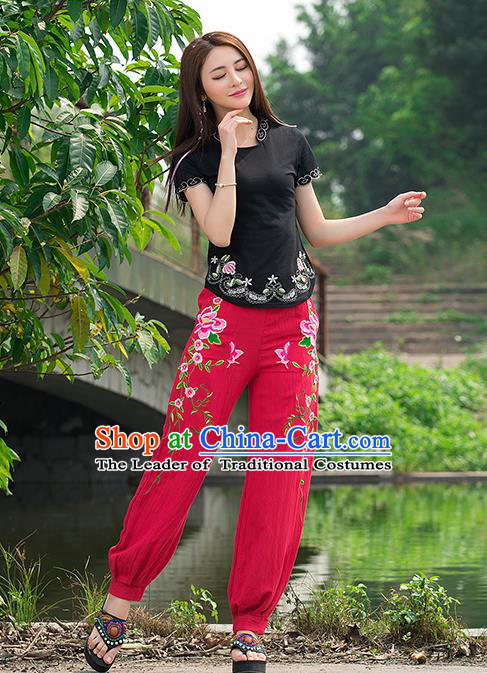 Traditional Ancient Chinese National Costume Plus Fours, Elegant Hanfu Embroidered Peony Pants, China Tang Suit Cotton Red Bloomers for Women