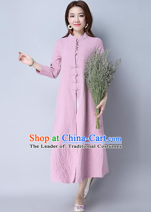 Traditional Ancient Chinese National Costume, Elegant Hanfu Two Piece Dress, China National Minority Tang Suit Cheongsam Upper Outer Garment Pink Dress Clothing for Women