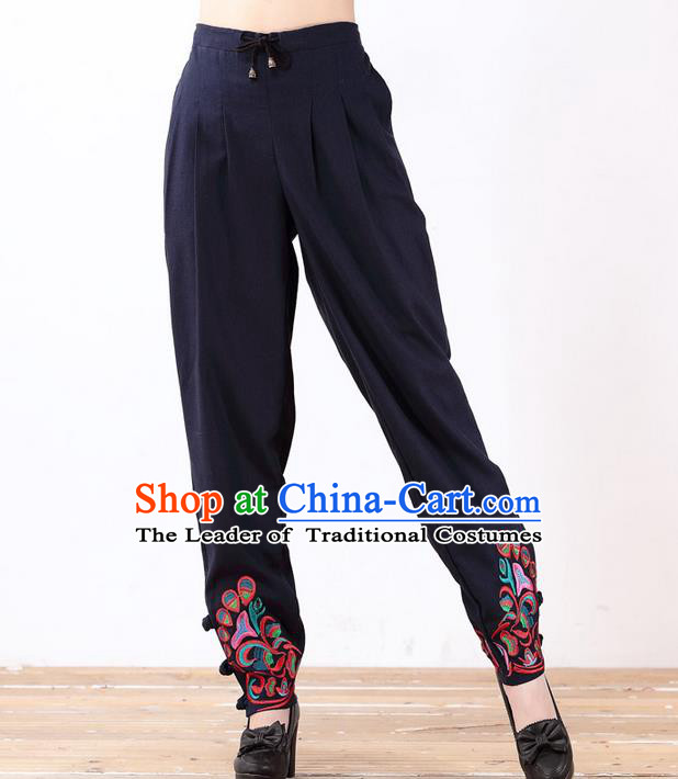Traditional Ancient Chinese National Costume Plus Fours, Elegant Hanfu Embroidered Pants, China Tang Suit Linen Navy Bloomers for Women
