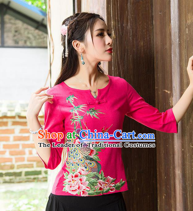 Traditional Ancient Chinese National Costume, Elegant Hanfu Embroidered Peacock Peony Shirt, China National Minority Tang Suit Red Blouse Cheongsam Upper Outer Garment Clothing for Women