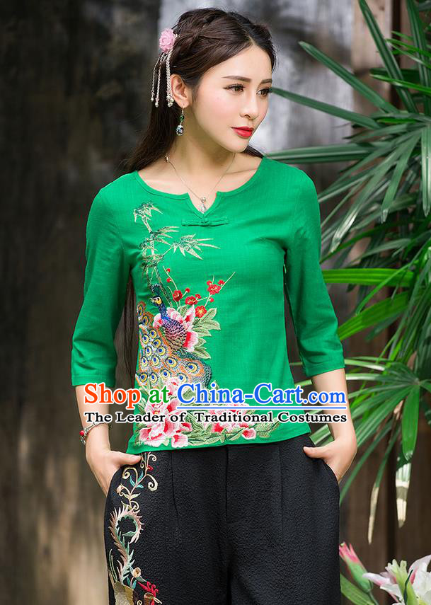 Traditional Ancient Chinese National Costume, Elegant Hanfu Embroidered Peacock Peony Shirt, China National Minority Tang Suit Green Blouse Cheongsam Upper Outer Garment Clothing for Women