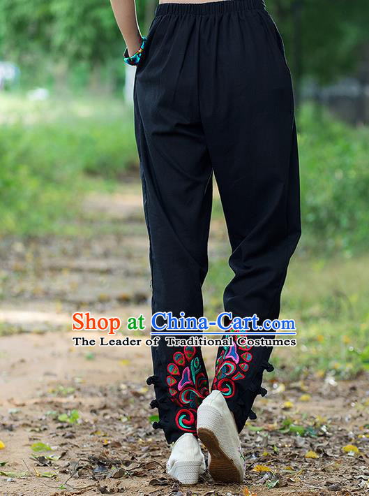 Traditional Ancient Chinese National Costume Trousers, Elegant Hanfu Embroidered Pants, China Tang Suit Cotton Black Leisure Pants for Women