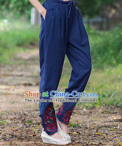 Traditional Ancient Chinese National Costume Trousers, Elegant Hanfu Embroidered Pants, China Tang Suit Cotton Navy Leisure Pants for Women