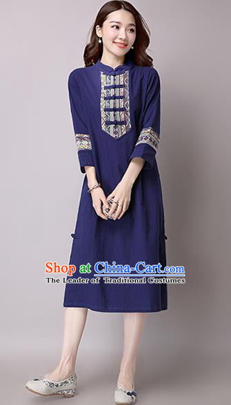 Traditional Ancient Chinese National Costume, Elegant Hanfu Stand Collar Embroidered Dress, China Tang Suit Mandarin Collar Cheongsam Upper Outer Garment Blue Dress Clothing for Women