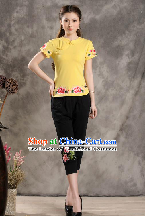 Traditional Ancient Chinese National Costume, Elegant Hanfu Shirt, China Tang Suit Embroidered Yellow Blouse Cheongsam Upper Outer Garment Clothing for Women