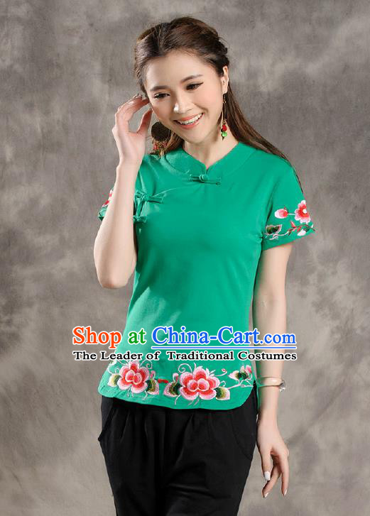 Traditional Ancient Chinese National Costume, Elegant Hanfu Shirt, China Tang Suit Embroidered Green Blouse Cheongsam Upper Outer Garment Clothing for Women