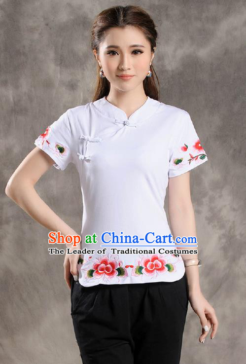 Traditional Ancient Chinese National Costume, Elegant Hanfu Shirt, China Tang Suit Embroidered White Blouse Cheongsam Upper Outer Garment Clothing for Women