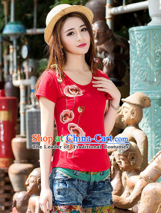 Traditional Ancient Chinese National Costume, Elegant Hanfu T-Shirt, China Tang Suit Red Embroidered Blouse Cheongsam Upper Outer Garment Shirt Clothing for Women
