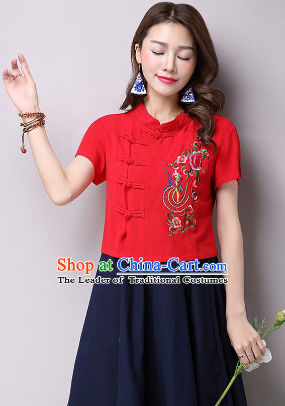 Traditional Ancient Chinese National Costume, Elegant Hanfu Shirt, China Tang Suit Red Embroidered Stand Collar Blouse Cheongsam Upper Outer Garment Shirt Clothing for Women