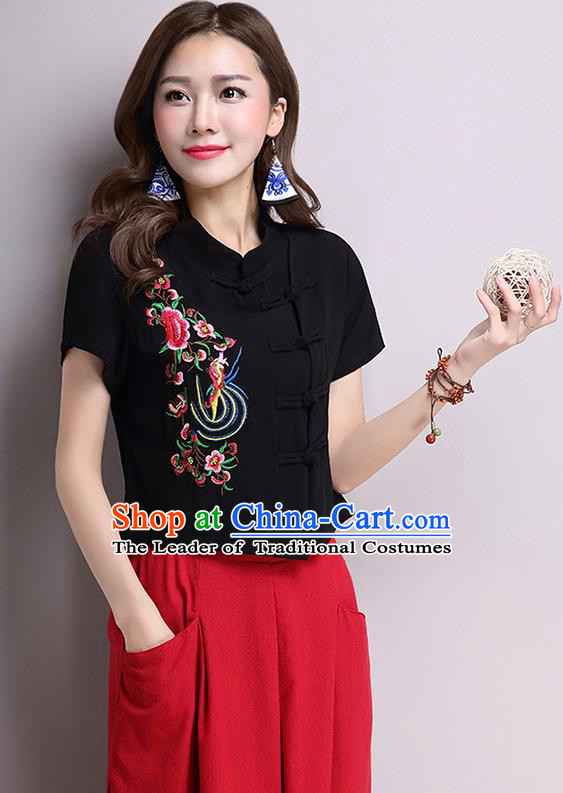 Traditional Ancient Chinese National Costume, Elegant Hanfu Shirt, China Tang Suit Black Embroidered Stand Collar Blouse Cheongsam Upper Outer Garment Shirt Clothing for Women