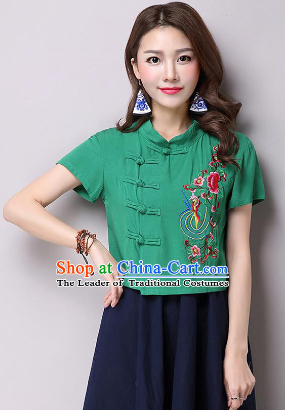 Traditional Ancient Chinese National Costume, Elegant Hanfu Shirt, China Tang Suit Green Embroidered Stand Collar Blouse Cheongsam Upper Outer Garment Shirt Clothing for Women